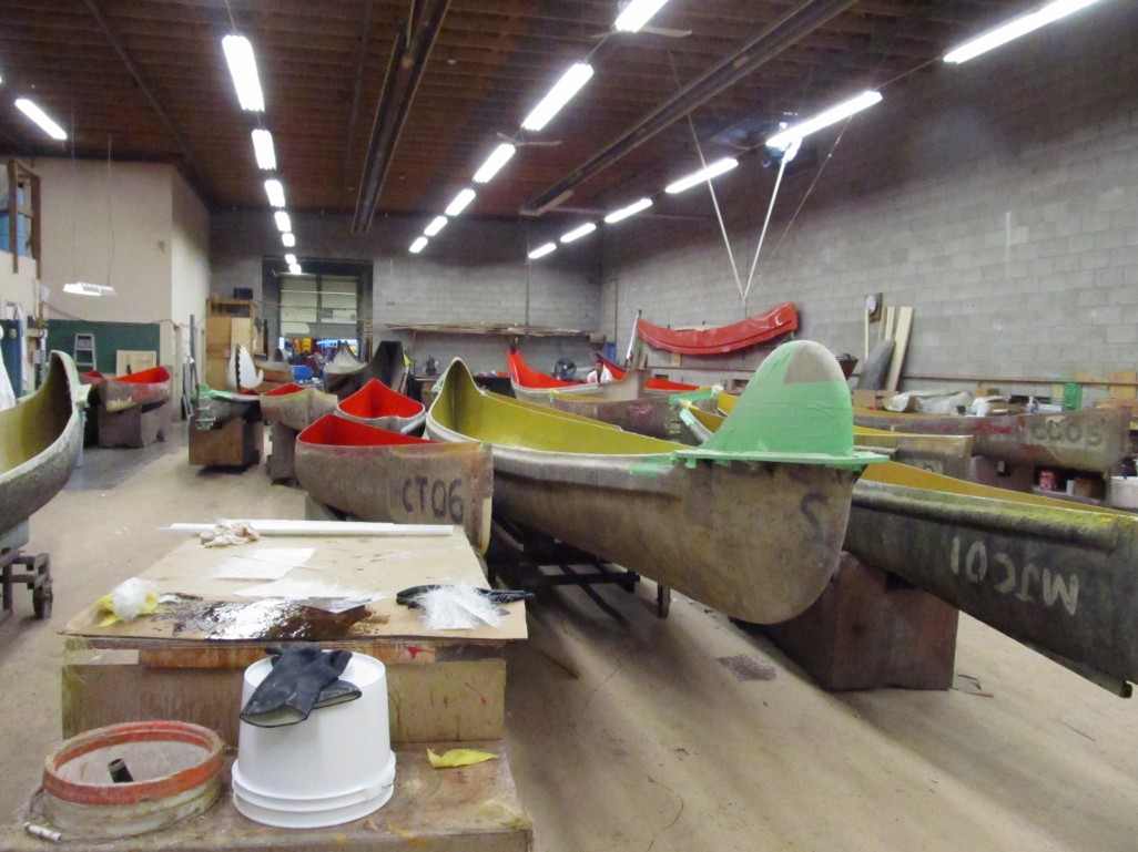 A peek inside Clipper Canoes manufacturing facility.