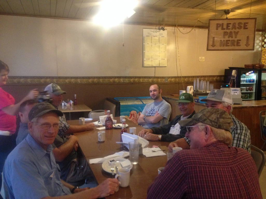 Mike, seated front left, and buds at local eatery