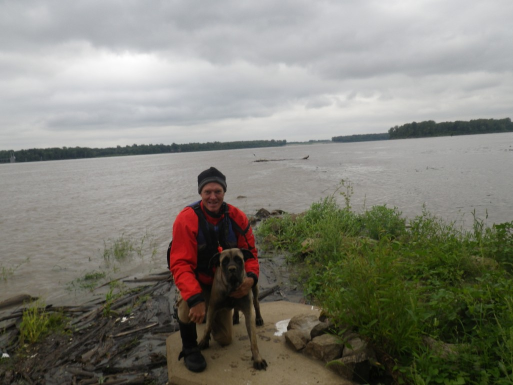 Mike and Dolly at the confluence.  This guy rocks and his dog ain't bad.